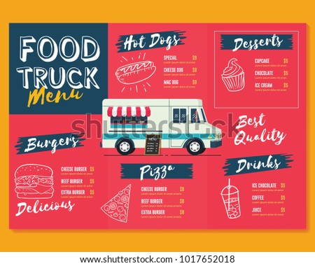 food truck menu template fast food stock vector royalty free