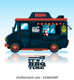 Food truck.BBQ Passion Food Truck own menu.Fast food delivery