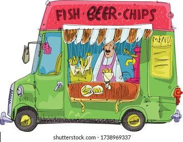 Food truck selling fish and chips. Caricature, hand drawn cartoon. Traditional street food cafe.