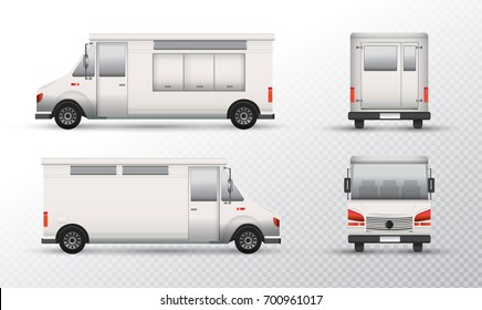 Food truck template design. White truck mock-up Identity for transparent background. Isolated object on white