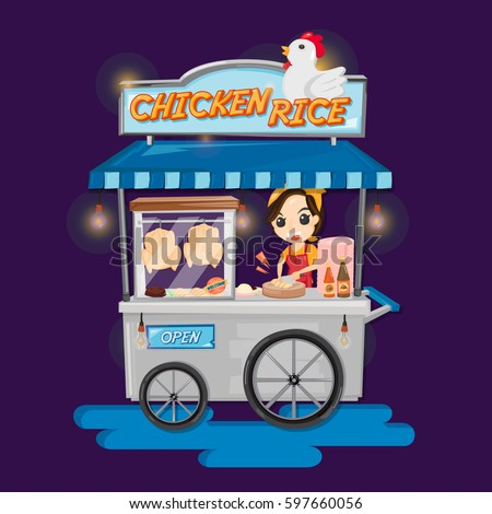 Food Truck Thai Chicken Rice Woman Stock Vector Royalty Free
