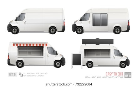 Food Truck Van Realistic vector template for MockUp Corporate Brand Identity.  Delivery Food Van Mini Bus isolated on white background. Street food truck mockup with showcase isolated on white