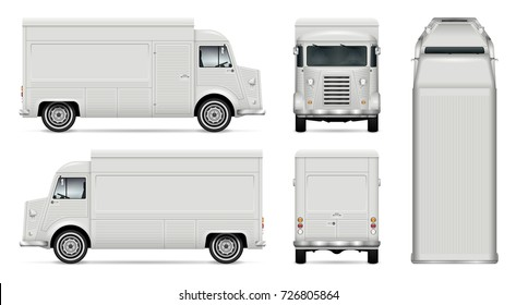 Food truck vector mock-up for advertising, corporate identity. Isolated template of Foodtruck on white background. Vehicle branding mockup. Easy to edit and recolor. View from side, front, back, top.