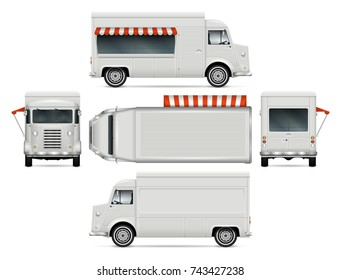 Food truck vector mock-up for advertising, corporate identity. Isolated template of the van on white background. Vehicle branding mockup. Easy to edit and recolor. View from side, front, back, and top