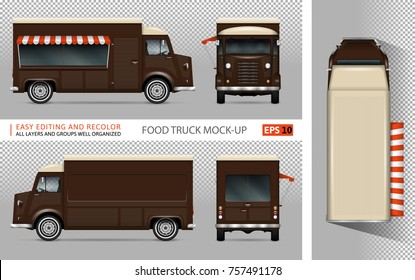 Food truck vector mock-up for advertising, corporate identity. Isolated template of mobile coffee van on transparent. Vehicle branding mockup. Easy to edit and recolor View from side, front, back, top