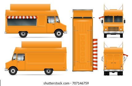 Food truck vector mock-up for car branding and advertising. Mobile kitchen van. Corporate identity element. All layers and groups well organized for easy editing. View from side, front, back, top.
