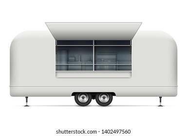 Food truck vector mockup for vehicle branding, advertising, corporate identity. Isolated template of realistic mobile kitchen on white background. All elements in the groups on separate layers