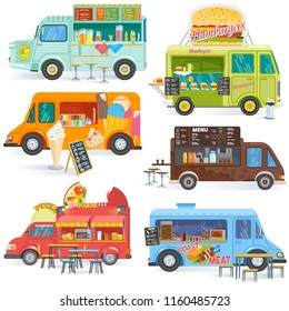 Food truck vector street food-truck vehicle and fastfood delivery transport with hotdog or pizza illustration set of drinks or ice cream in foodtruck isolated on white background