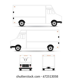 Food truck vector template outline stroke isolated on white background. Can be used for corporate identity and branding design.