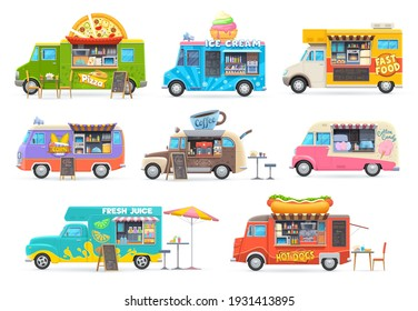 Food trucks isolated vector cars, cartoon vans for street food selling. Cafe restaurant on wheels, transportation with fastfood chalkboard menu, pizza, ice cream, pop corn and coffee or juice trucks