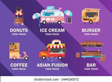 Food trucks poster vector template. Street food festival. Brochure, cover, booklet page concept design with flat illustrations. Ready meal vehicles. Advertising flyer, leaflet, banner layout idea