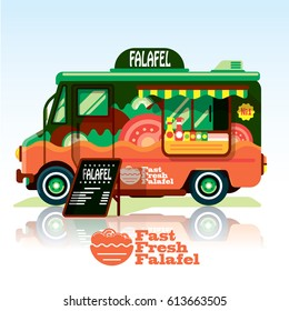 Food truck.vector falafel truck.Fast food delivery