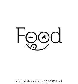 FOOD typeface logo icon vector delicious face inside