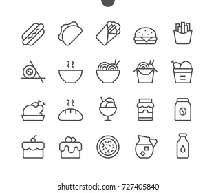 Food UI Pixel Perfect Well-crafted Vector Thin Line Icons 48x48 Ready for 24x24 Grid for Web Graphics and Apps with Editable Stroke. Simple Minimal Pictogram Part 1-3