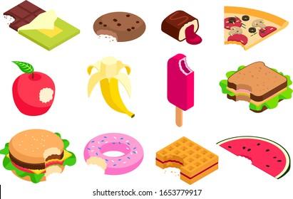 Food vector bitten dessert tasty cake. Eating sweet doughnut, fast food burger isometric illustration. Set of sweet ice cream and fruits apple, banana isolated on white background.