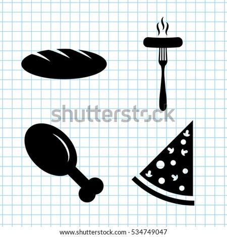 Food Vector Icon Set Chicken Leg Stock Vector Royalty Free