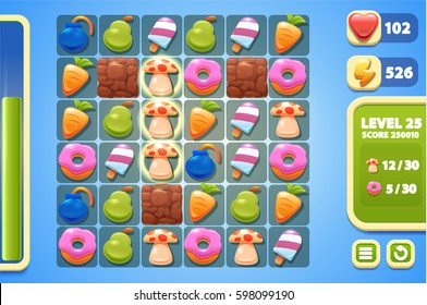 Food vector icon set. design game ui element. match 3 game