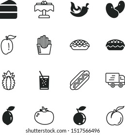 food vector icon set such as: fries, water, tomatoes, colorful, milk, bean, straw, market, furniture, eat, quick, thin, chilli, deliver, pineapple, express, ananas, soda, chocolate, lime, set