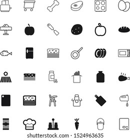 food vector icon set such as: puppy, spoon, potatoes, pepper, blank, fish, treatment, dog, loaf, chop, fridge, clean, cold, drawing, medicine, plastic, fields, utensil, mason, pill, farm, instrument