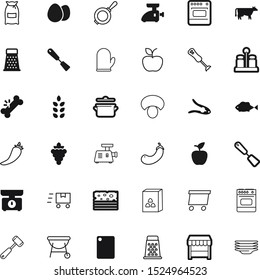 food vector icon set such as: fishing, grapevine, steel, mushrooms, detail, veal, closed, grill, cornflakes, care, boxes, abstract, blender, steer, dish, sea, green, cattle, mitten, female, lunch