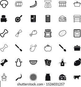food vector icon set such as: bag, pushing, autumn, male, sliced, garlic, container, cooler, big, grater, citrus, plastic, door, turkey, veal, edible, legs, fridge, cutlery, starch, cattle, new