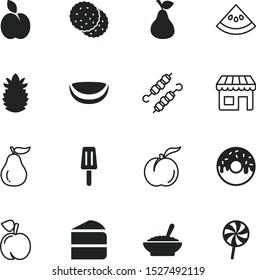 food vector icon set such as: doughnuts, yellow, skewer, market, closeup, cookies, chicken, sliced, shiny, fruit tree, image, line, part, coffee, meat, bake, cooked, vegan, colorful, glaze, vegetable