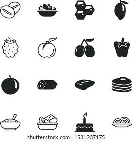 food vector icon set such as: rice, fruits, icons, capsicum, energy, letter, cornelian, half, tomato, yummy food, onion, beans, leg, vegan, salami, morning, cafe, porridge, aromatic, brown