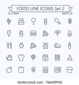 Food vector  icons set. Thin line outline 48 x 48 Grid.Pixel Perfect