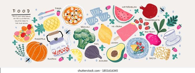 Food. Vector illustration: pumpkin, rosemary, apple, basket, teapot, pineapple, broccoli, lemon, avocado, plate, watermelon, beet, strawberry, pomegranate, beetroot, cup, pasta