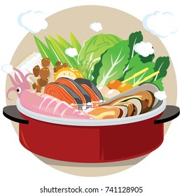 Food Vector : Japanese food : hot pot, sha-bu , suki-yaki