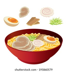 food, vector, japanese, ramen, noodles, illustration