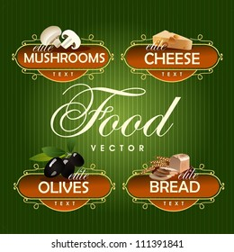 Food. Vector. Mushrooms, cheese, olives, bread