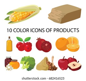 Food. Vegetables, sweets, butter, fruits, berries, cereals. For your convenience, each significant element is in a separate layer. Eps 10