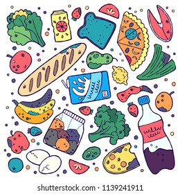 Food wastage doodle clipart. Vector illustration. Rotten, spoiled and expired food.