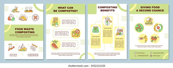 Food waste composting brochure template. What can be composted. Flyer, booklet, leaflet print, cover design with linear icons. Vector layouts for magazines, annual reports, advertising posters