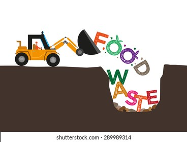 Food Waste concept. Bulldozer buries uneaten food underground. Editable Clip Art.