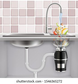 Food waste disposer fitted under kitchen sink with slices of fruits, vegetables and other food waste falling into it with water, vector realistic illustration. Garbage disposal.