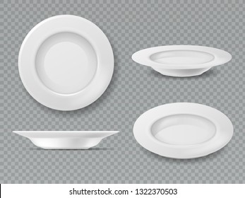 Food white plate. Empty plate top view dish bowl side view kitchen meal breakfast ceramic cooking porcelain isolated vector set