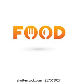 Food word sign logo icon design template elements with spoon and fork. Vector color emblem.
