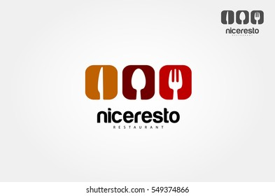 Food word sign logo icon design template elements with spoon, knife and fork. Vector logo illustration