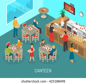Food in workplace isometric poster with canteen lunch meals for company employees and director abstract vector illustration