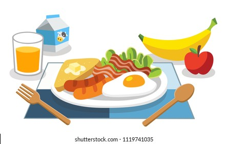foods with benefits. Eating breakfast in the morning. Breakfast is the first meal of a day for life.