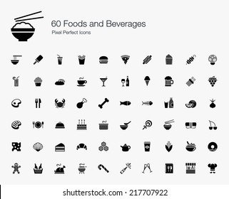 Foods and Beverages Pixel Perfect Icons