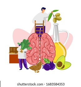 foods For Brain Health Selection food sources of omega 3 and unsaturated fats. Super food high vitamin e and dietary fiber for healthy food.
