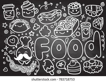Foods doodles hand drawn sketchy vector symbols and objects , sketch on chalk board