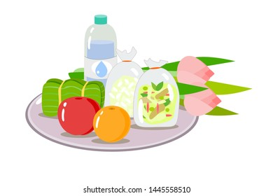 foods fruit water and lotus flower for give alms buddhist monk vector