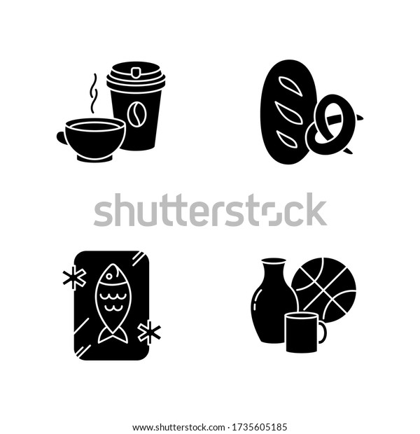 Foods and goods black glyph icons set on white space. Coffee in disposable cup. Black tea in mug. Frozen fish. Preserved seafood. Miscellaneous items. Silhouette symbols. Vector isolated illustration