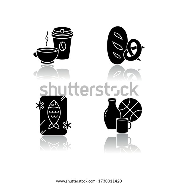 Foods and goods drop shadow black glyph icons set. Coffee in disposable cup. Black tea in mug. Frozen fish. Preserved seafood. Miscellaneous items. Isolated vector illustrations on white space