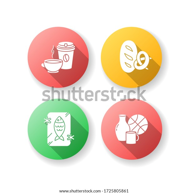 Foods and goods flat design long shadow glyph icons set. Coffee in disposable cup. Black tea in mug. Bread loaf, baked pretzel. Miscellaneous items. Silhouette RGB color illustration