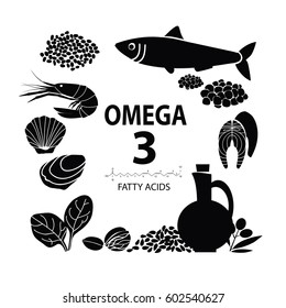 """Foods with the highest content of Omega-3."" Healthy heart and cardiovascular system. Healthy lifestyle. Balanced diet. Basics of healthy nutrition. Food on a light background. Black and white"